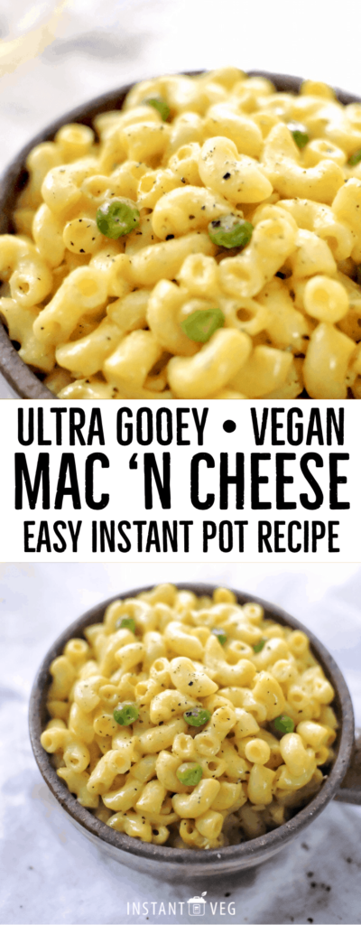 My recipe for an easy Instant pot vegan mac and cheese is great with peas and has a delicious cheesy taste.