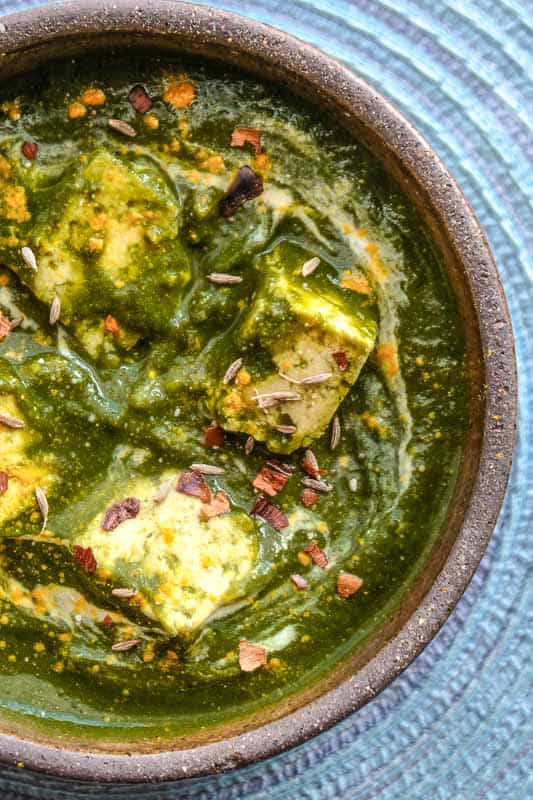 Vegan Palak Paneer Tofu Instant pot Recipe