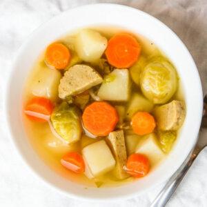 brussel sprout seitan sausage soup vegan instant pot recipe