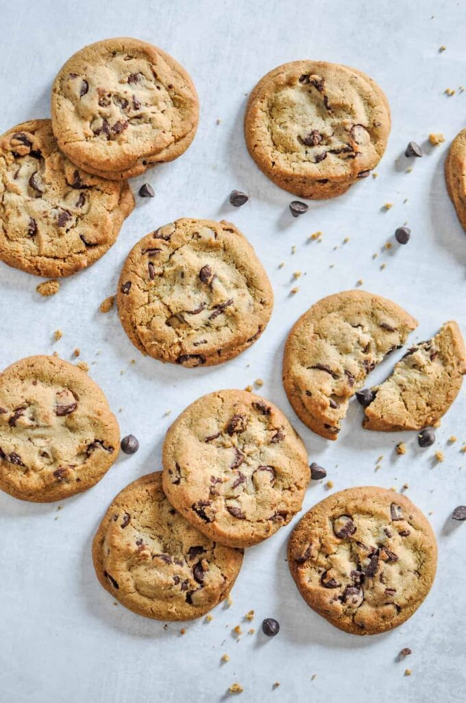 A vertical closeup shot of baked vegan chocolate cookies.