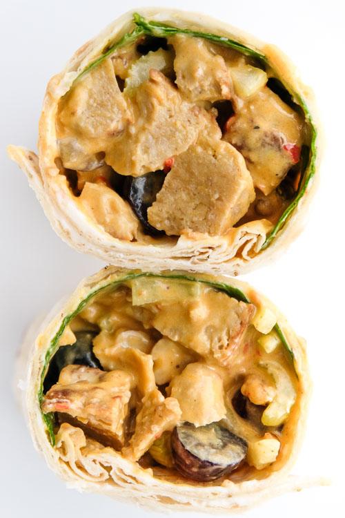 Vegan Curried Chicken Salad Wraps