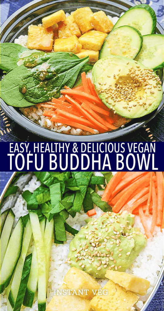 With crispy baked tofu, creamy avocado, and mouth-watering sesame dressing, this vegan buddha bowl is one of our family's favorites for lunch or dinner. #veganrecipes #veganbuddhabowl #buddhabowlrecipes #vegandinners #veganlunch #healthyveganrecipes #buddhabowl #vegandiet #tofurecipes #veganmeals