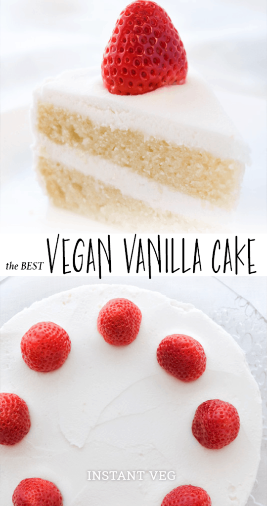 the BEST vegan vanilla cake. This vegan vanilla cake is pure perfection. It's light, fluffy, and moist - with just the right amount of vanilla flavor. Top it off with my vegan buttercream frosting for a cake that's straight from heaven. #vegancake #veganvanillacake #veganwhitecake #vegancakewithstrawberries #veganbirthdaycake #bestvegancake #vegancakerecipe #veganfrosting #vegandesserts