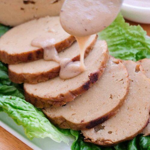 Vegan Turkey seitan vegan thanksgiving roast with gravy