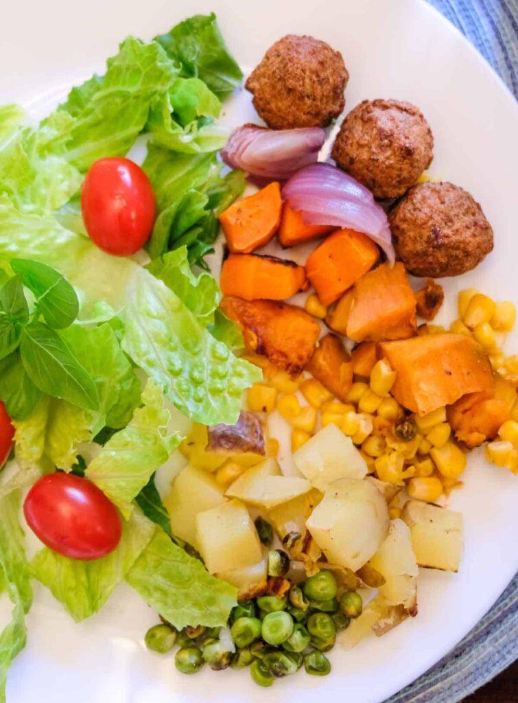 Vegan roast (vegetable roast) with salad.