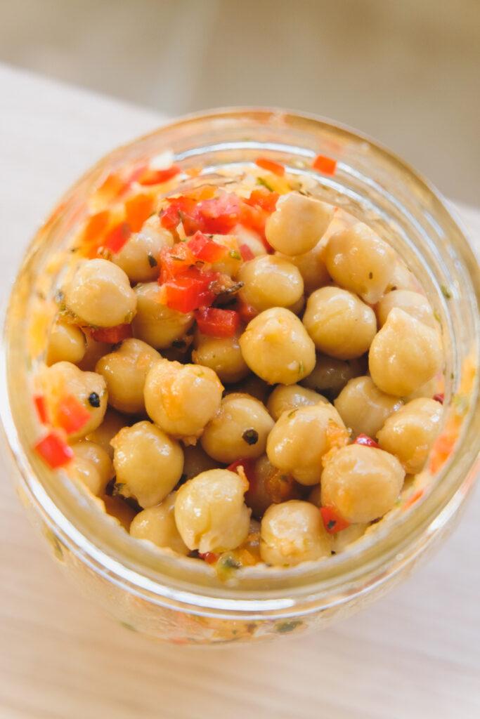 chickpea salad in a mason jar.