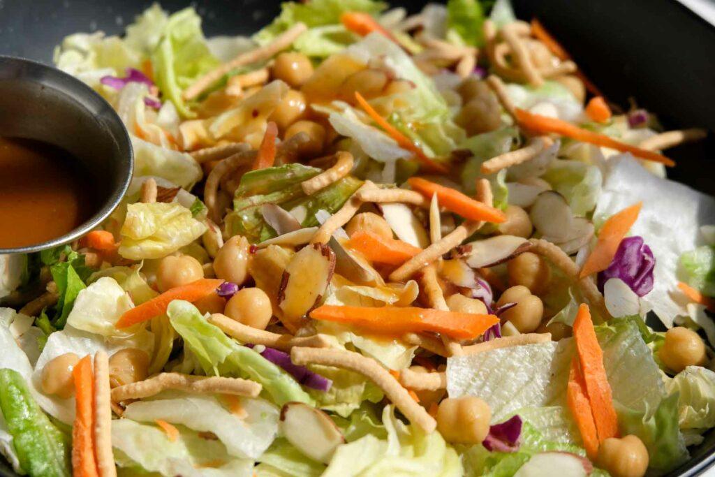 Applebees asian chicken salad copycat recipe with chickpeas.