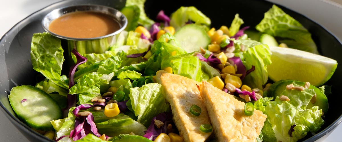 Asian Salad with Tofu and Sesame Dressing on a plate with a lime, cilantro, corn, red cabbage, and lettuce