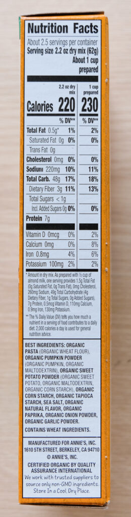 Annie's Creamy Sauce (shells) Vegan Mac Nutrition Facts
