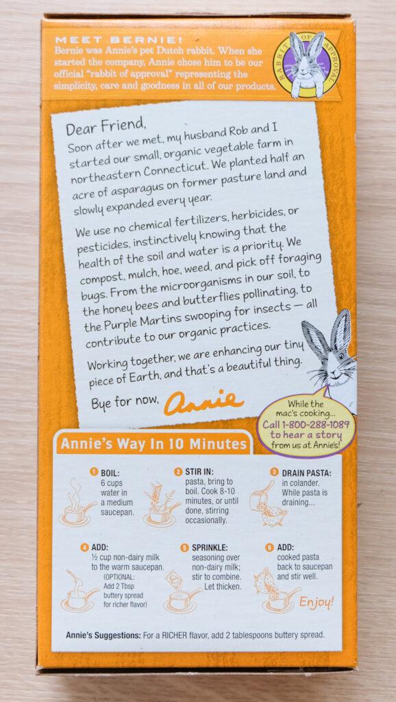 Annie's Creamy Sauce (shells) Vegan Mac Cooking Instructions