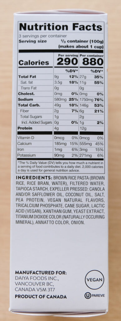 Daiya Deluxe Cheezy Mac Cheddar Style Nutrition Facts